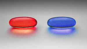 Pastilla roja y pastilla azul