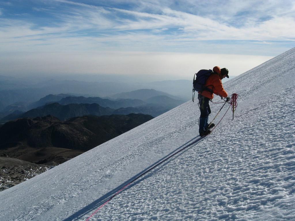 Climber ascending Jamapa Glacier
