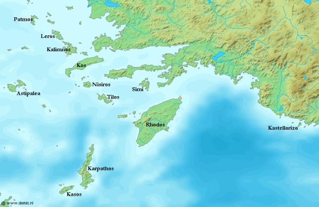 Mapa del Dodecaneso